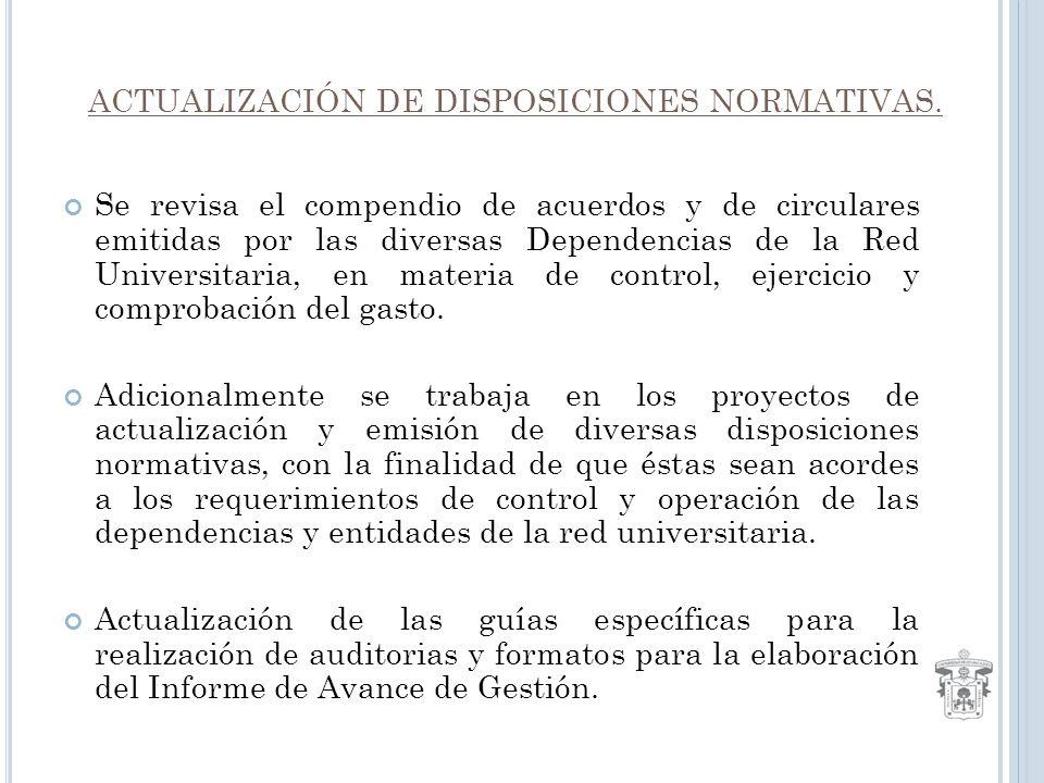 ACTUALIZACIÓN DE DISPOSICIONES NORMATIVAS.