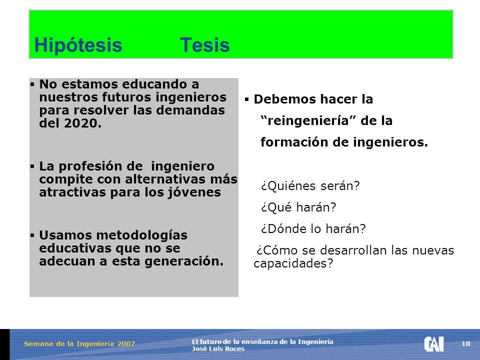 10 El futuro de la enseñanza de la Ingeniería José Luis Roces Semana de la Ingenier í a 2007 Hipótesis Tesis  No estamos educando a nuestros futuros ingenieros para resolver las demandas del 2020.