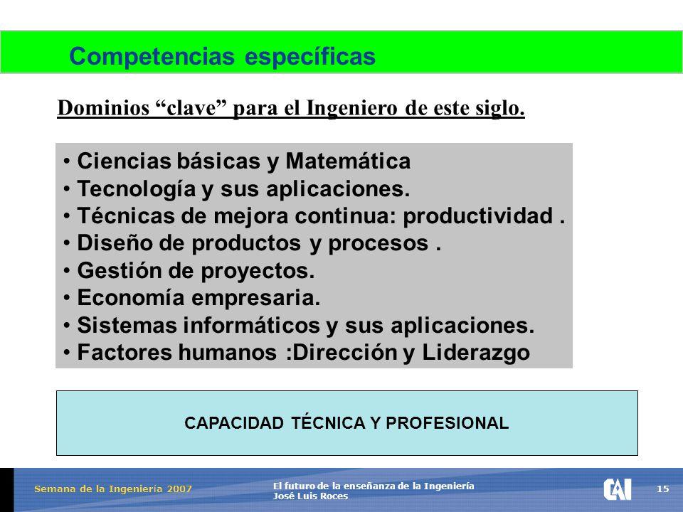 15 El futuro de la enseñanza de la Ingeniería José Luis Roces Semana de la Ingenier í a 2007 Competencias específicas Dominios clave para el Ingeniero de este siglo.