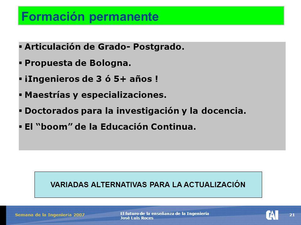 21 El futuro de la enseñanza de la Ingeniería José Luis Roces Semana de la Ingenier í a 2007 Formación permanente  Articulación de Grado- Postgrado.