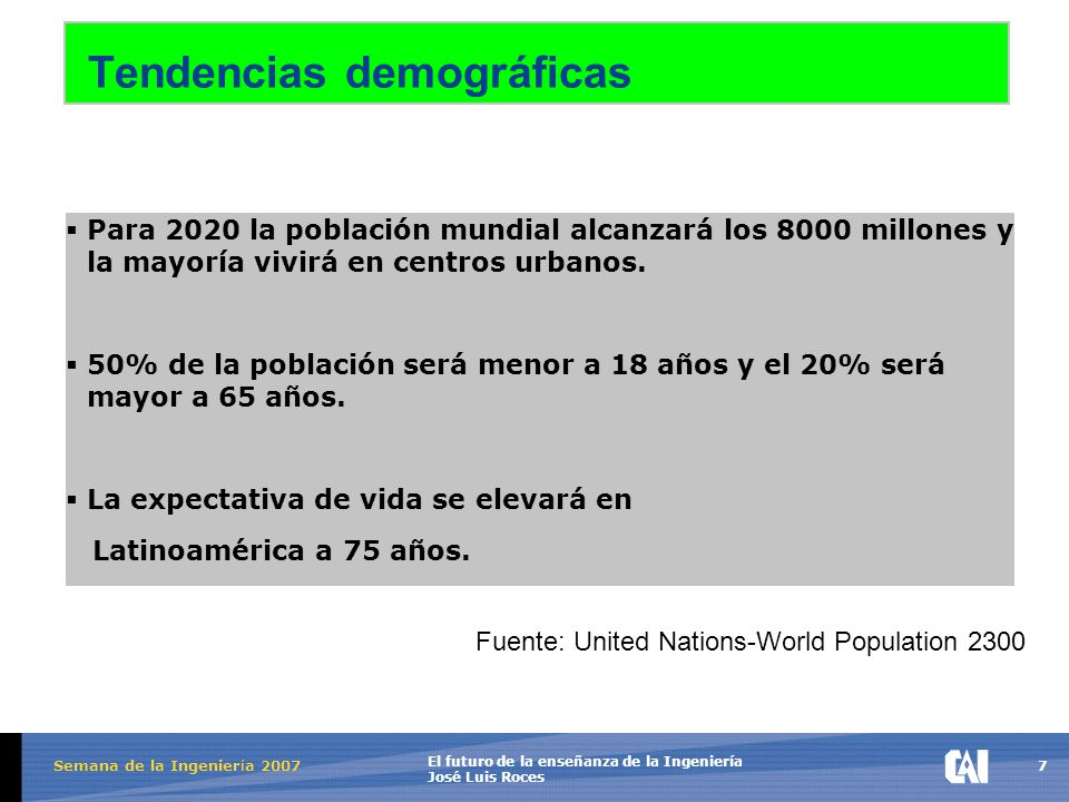 7 El futuro de la enseñanza de la Ingeniería José Luis Roces Semana de la Ingenier í a 2007 Tendencias demográficas  Para 2020 la población mundial alcanzará los 8000 millones y la mayoría vivirá en centros urbanos.