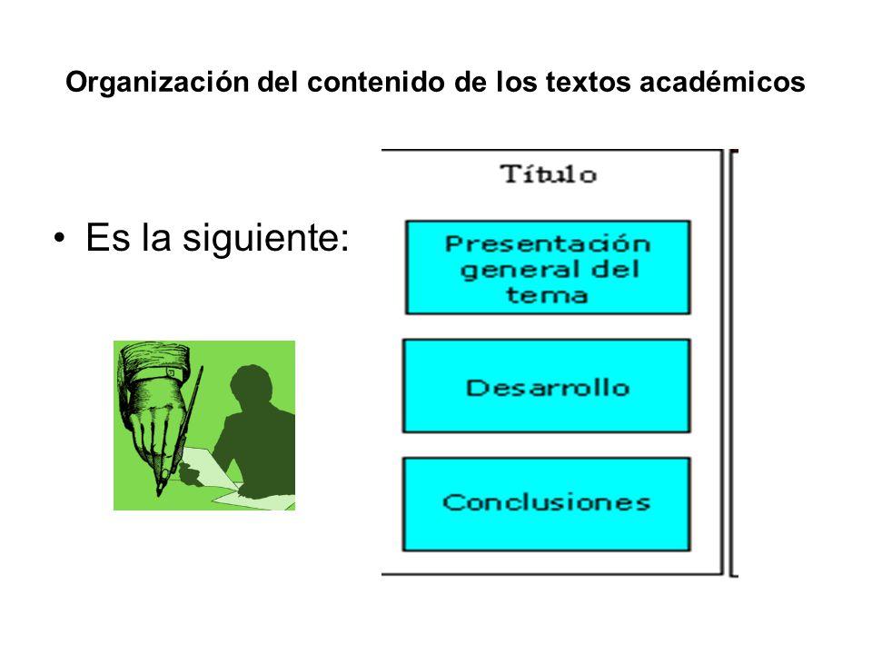 Organización del contenido de los textos académicos Es la siguiente: