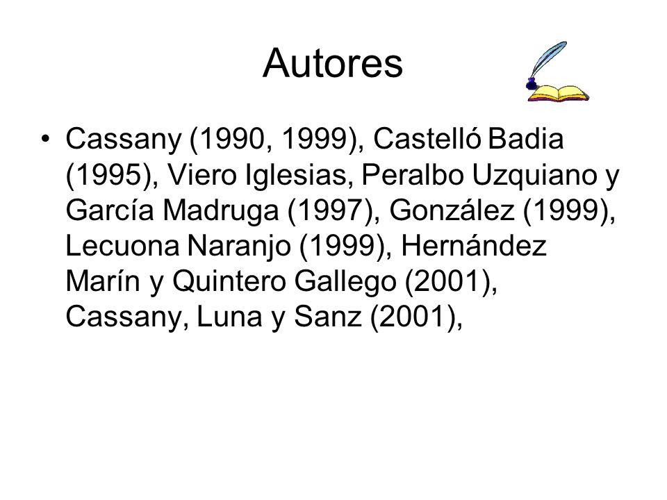 Autores Cassany (1990, 1999), Castelló Badia (1995), Viero Iglesias, Peralbo Uzquiano y García Madruga (1997), González (1999), Lecuona Naranjo (1999), Hernández Marín y Quintero Gallego (2001), Cassany, Luna y Sanz (2001),