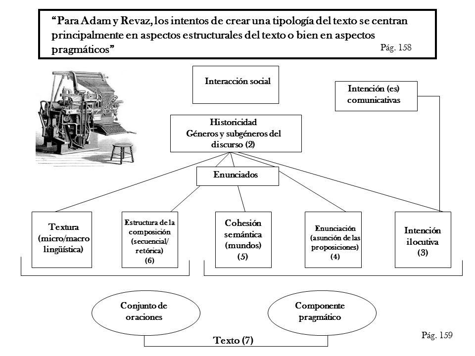 Para Adam y Revaz, los intentos de crear una tipología del texto se centran principalmente en aspectos estructurales del texto o bien en aspectos pragmáticos Pág.