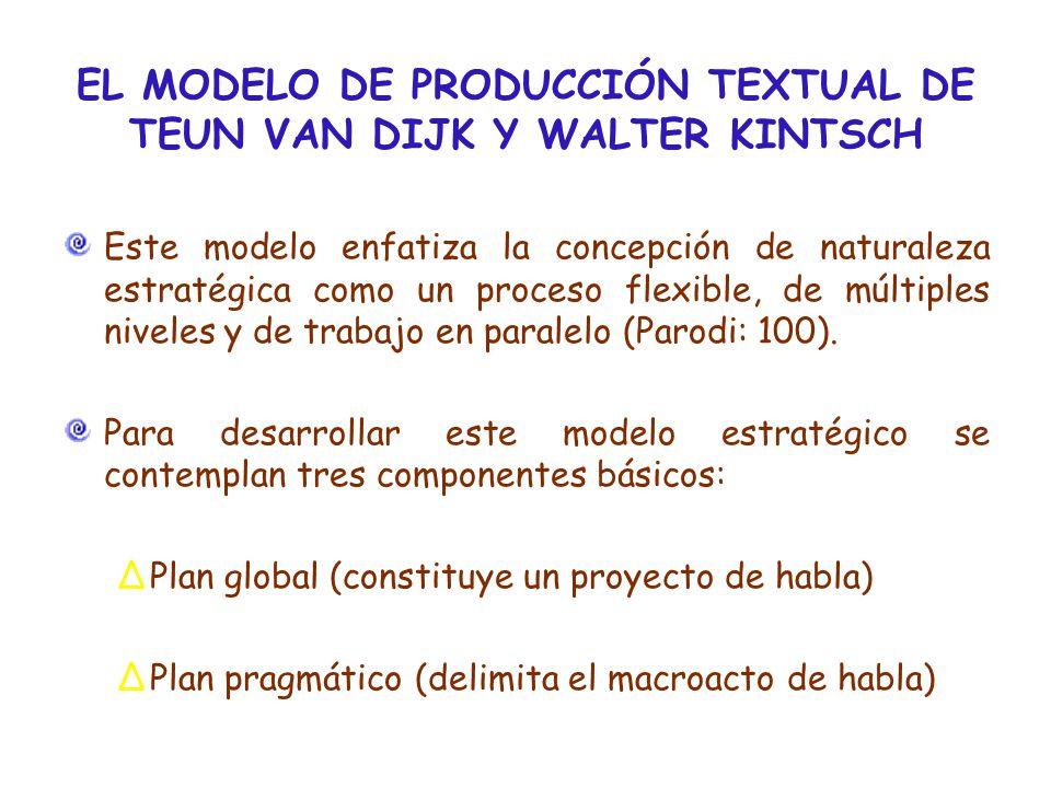 EL MODELO DE PRODUCCIÓN TEXTUAL DE TEUN VAN DIJK Y WALTER KINTSCH Este modelo enfatiza la concepción de naturaleza estratégica como un proceso flexible, de múltiples niveles y de trabajo en paralelo (Parodi: 100).