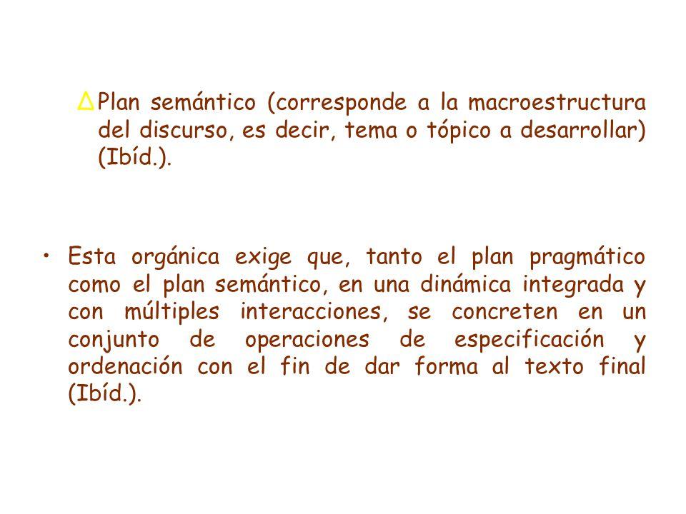 ∆Plan semántico (corresponde a la macroestructura del discurso, es decir, tema o tópico a desarrollar) (Ibíd.).