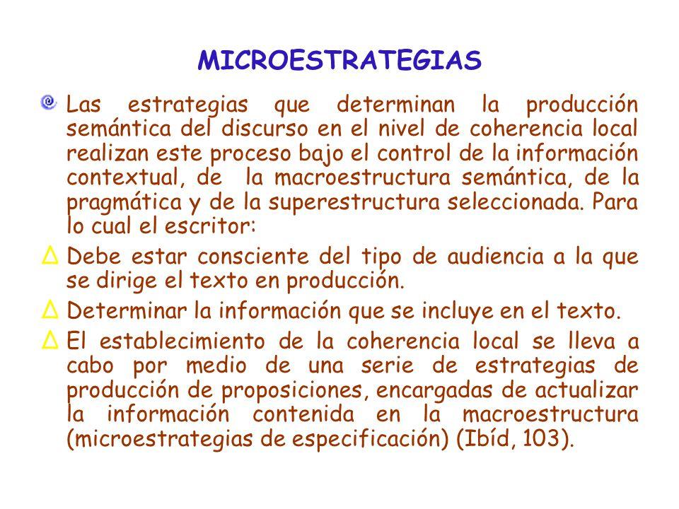 MICROESTRATEGIAS Las estrategias que determinan la producción semántica del discurso en el nivel de coherencia local realizan este proceso bajo el control de la información contextual, de la macroestructura semántica, de la pragmática y de la superestructura seleccionada.