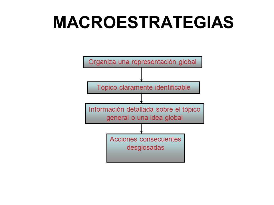 MACROESTRATEGIAS Organiza una representación global Tópico claramente identificable Información detallada sobre el tópico general o una idea global Acciones consecuentes desglosadas