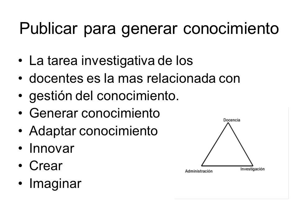Publicar para generar conocimiento La tarea investigativa de los docentes es la mas relacionada con gestión del conocimiento.