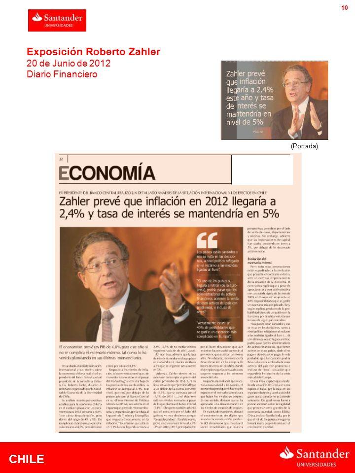 CHILE 10 Exposición Roberto Zahler 20 de Junio de 2012 Diario Financiero (Portada)