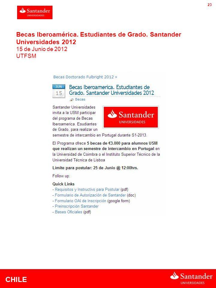 CHILE 23 Becas Iberoamérica. Estudiantes de Grado.