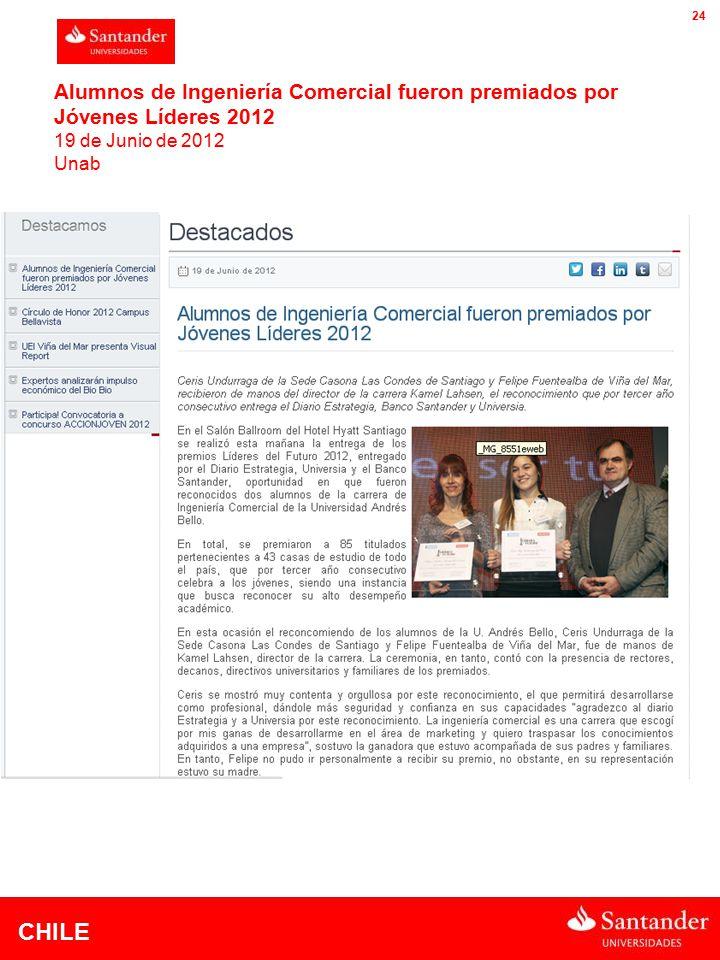 CHILE 24 Alumnos de Ingeniería Comercial fueron premiados por Jóvenes Líderes 2012 19 de Junio de 2012 Unab