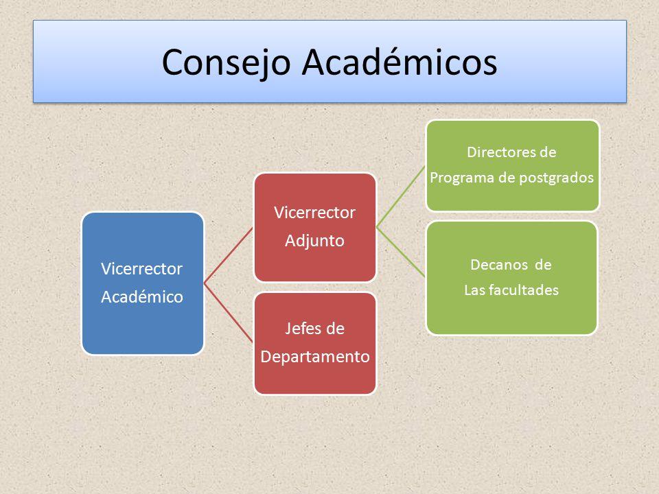 Consejo Académicos Vicerrector Académico Vicerrector Adjunto Directores de Programa de postgrados Decanos de Las facultades Jefes de Departamento