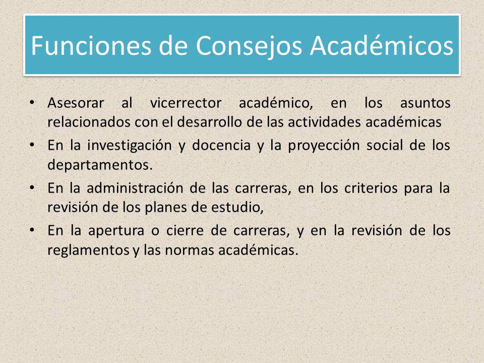 Funciones de Consejos Académicos Asesorar al vicerrector académico, en los asuntos relacionados con el desarrollo de las actividades académicas En la investigación y docencia y la proyección social de los departamentos.