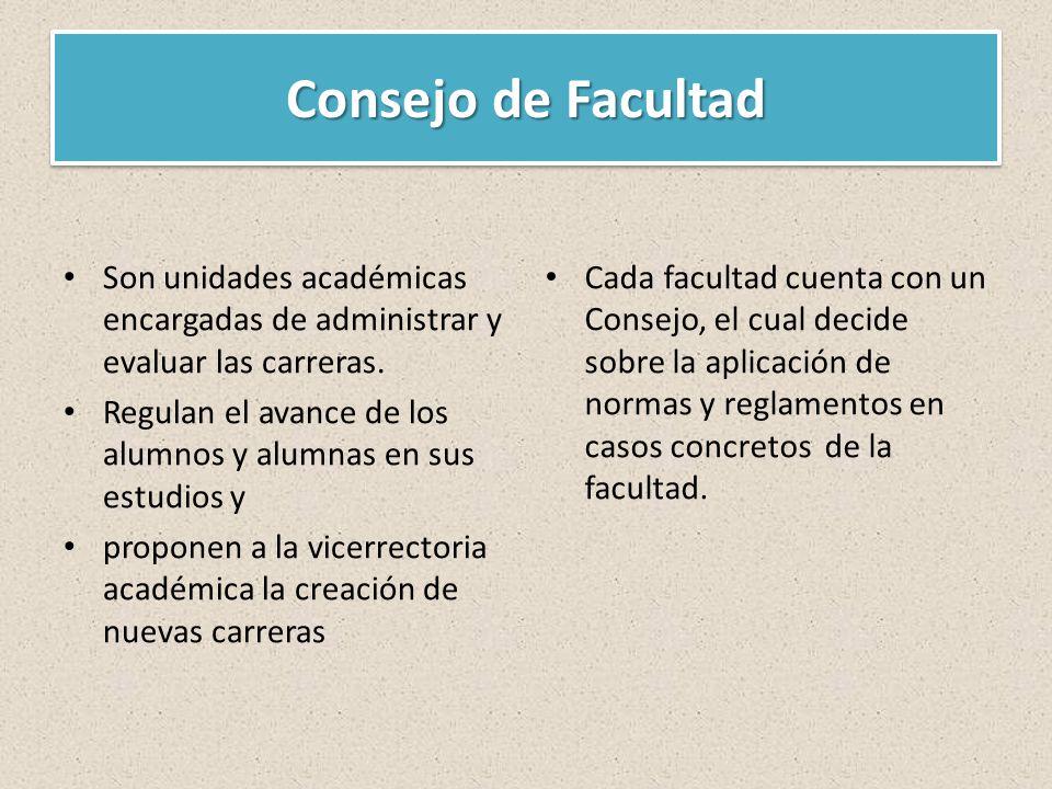 Consejo de Facultad Son unidades académicas encargadas de administrar y evaluar las carreras.