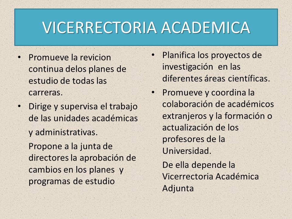 VICERRECTORIA ACADEMICA Promueve la revicion continua delos planes de estudio de todas las carreras.