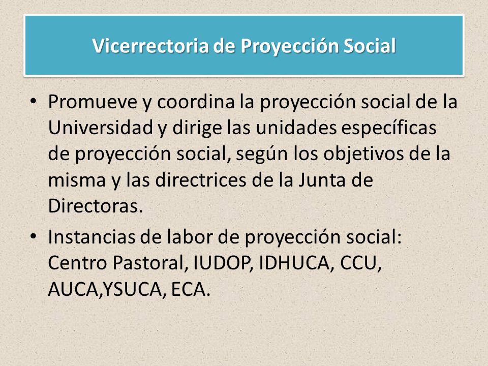Vicerrectoria de Proyección Social Promueve y coordina la proyección social de la Universidad y dirige las unidades específicas de proyección social, según los objetivos de la misma y las directrices de la Junta de Directoras.