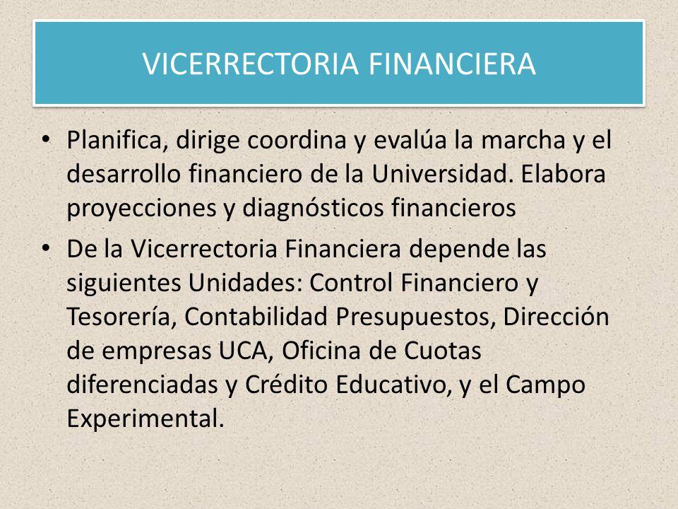 VICERRECTORIA FINANCIERA Planifica, dirige coordina y evalúa la marcha y el desarrollo financiero de la Universidad.