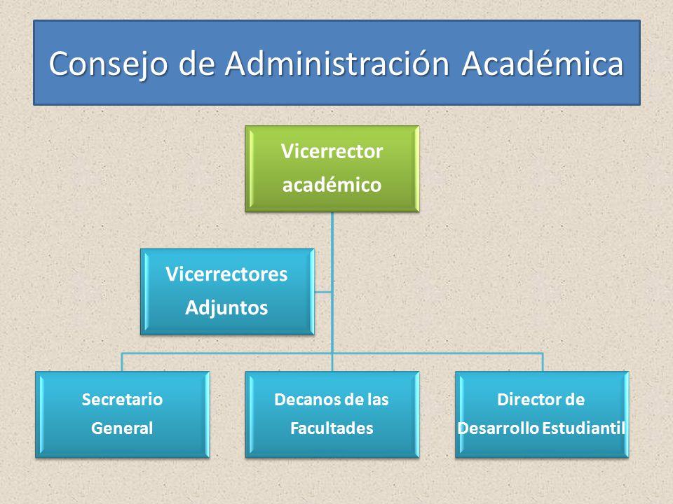 Consejo de Administración Académica Vicerrector académico Secretario General Decanos de las Facultades Director de Desarrollo Estudiantil Vicerrectores Adjuntos