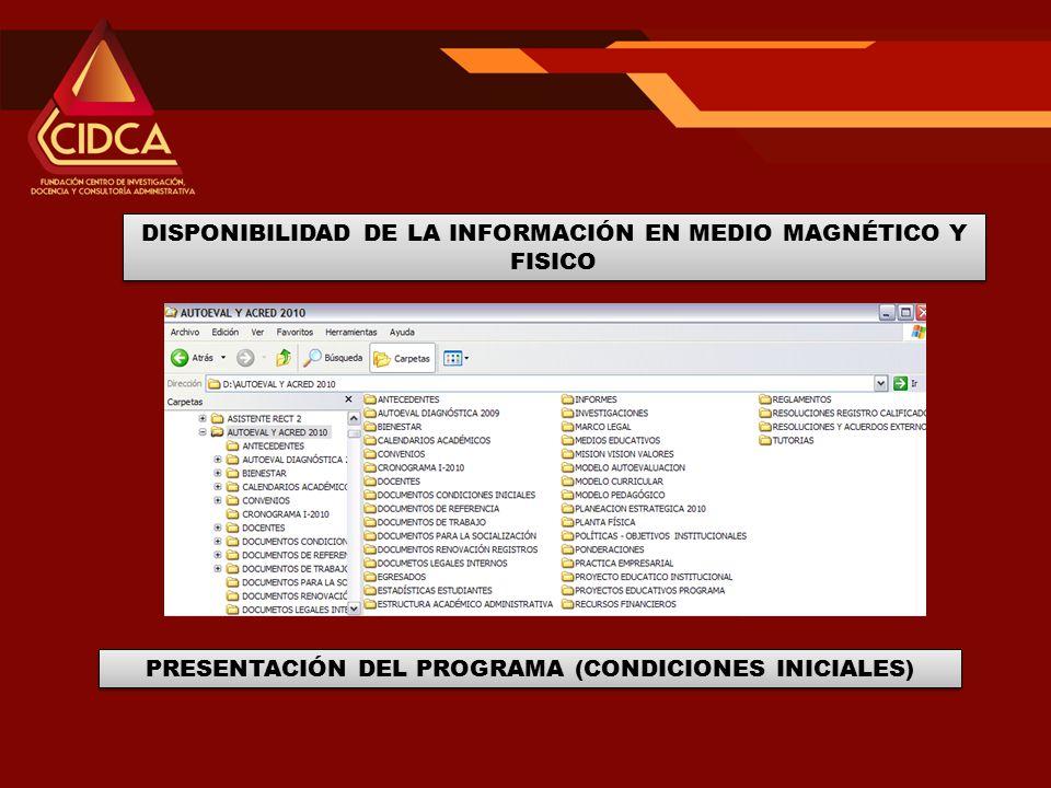 DISPONIBILIDAD DE LA INFORMACIÓN EN MEDIO MAGNÉTICO Y FISICO PRESENTACIÓN DEL PROGRAMA (CONDICIONES INICIALES)