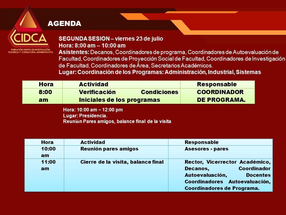 AGENDA Hora: 10:00 am – 12:00 pm Lugar: Presidencia.