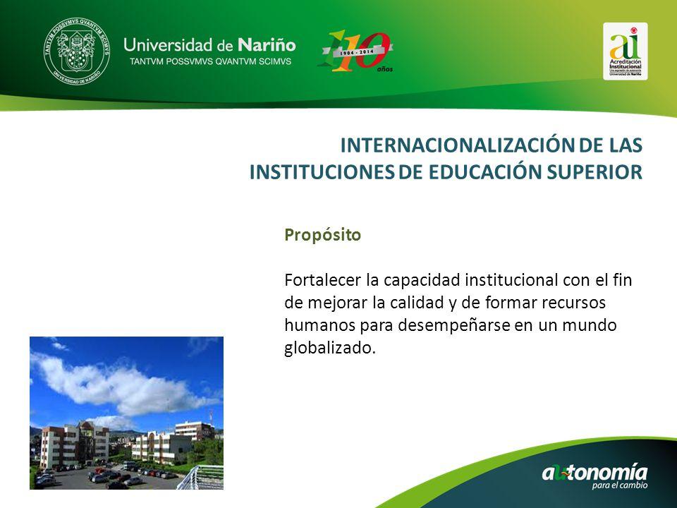 INTERNACIONALIZACIÓN DE LAS INSTITUCIONES DE EDUCACIÓN SUPERIOR Propósito Fortalecer la capacidad institucional con el fin de mejorar la calidad y de formar recursos humanos para desempeñarse en un mundo globalizado.
