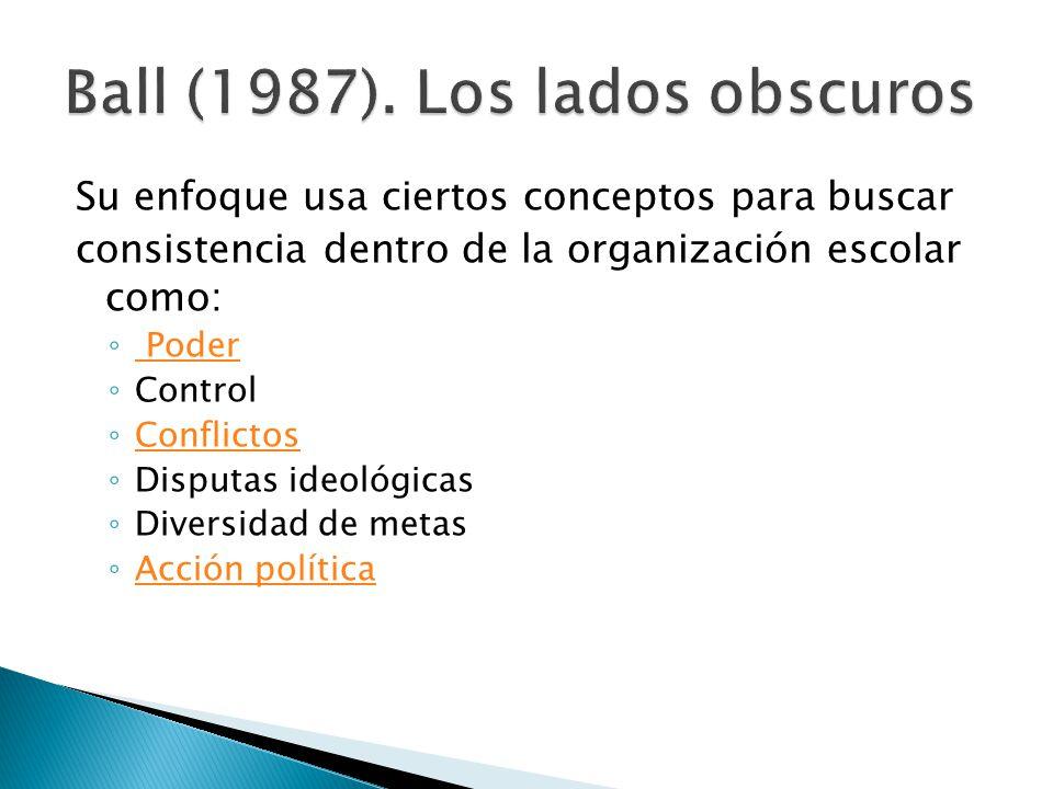 Su enfoque usa ciertos conceptos para buscar consistencia dentro de la organización escolar como: ◦ Poder Poder ◦ Control ◦ Conflictos Conflictos ◦ Disputas ideológicas ◦ Diversidad de metas ◦ Acción política Acción política
