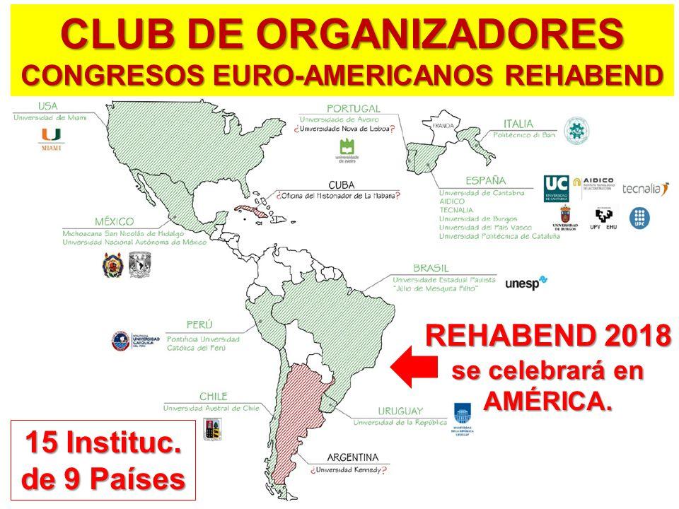 CLUB DE ORGANIZADORES CONGRESOS EURO-AMERICANOS REHABEND REHABEND 2018 se celebrará en AMÉRICA.