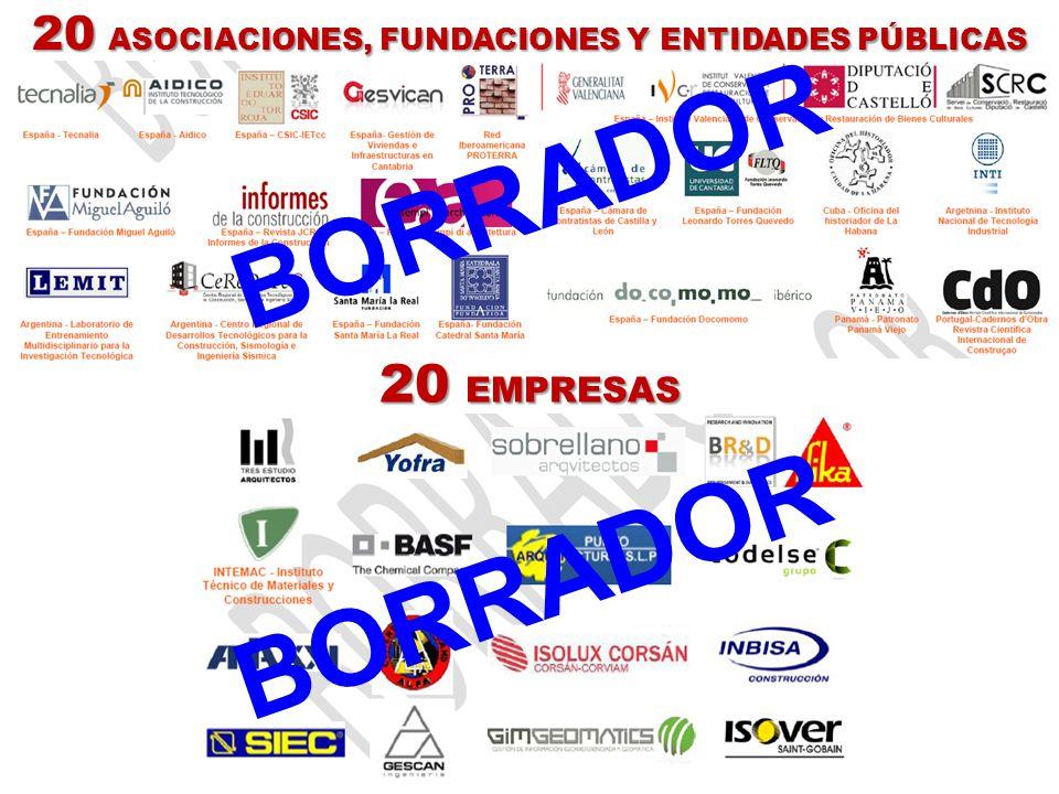 20 ASOCIACIONES, FUNDACIONES Y ENTIDADES PÚBLICAS 20 EMPRESAS BORRADOR