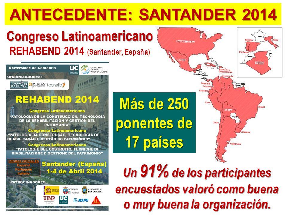 Congreso Latinoam ericano REHABEND 2014 (Santander, España) Un 91% de los participantes encuestados valoró como buena o muy buena la organización.