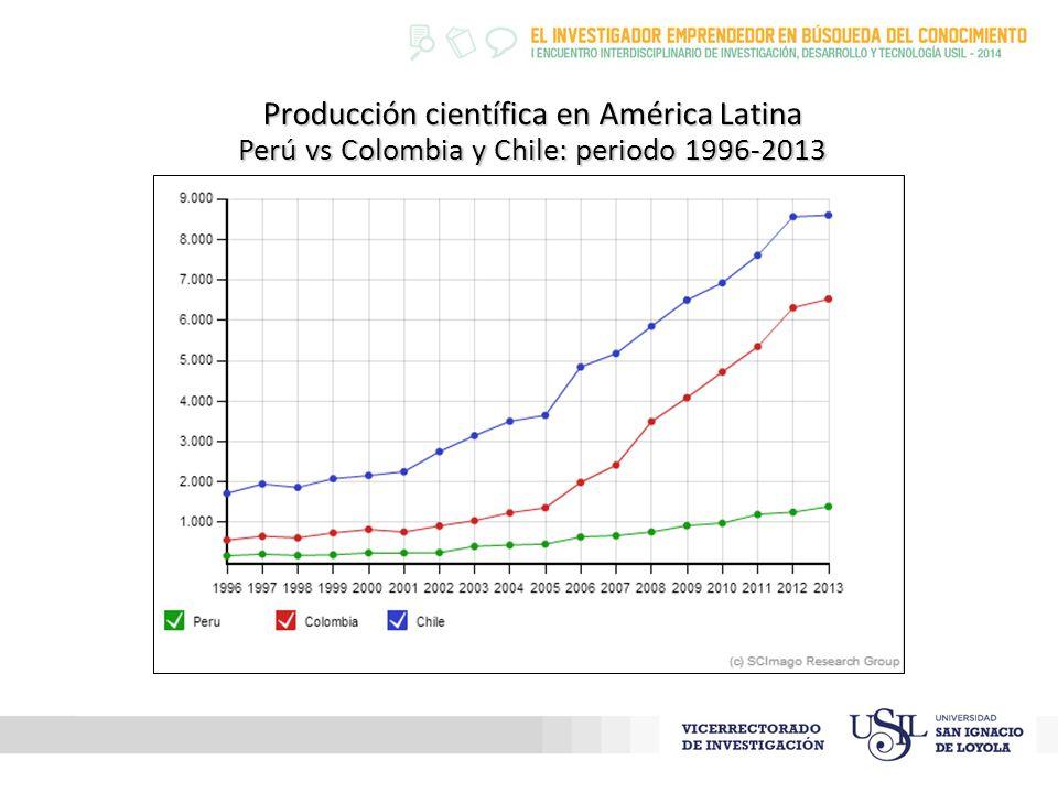Producción científica en América Latina Perú vs Colombia y Chile: periodo 1996-2013