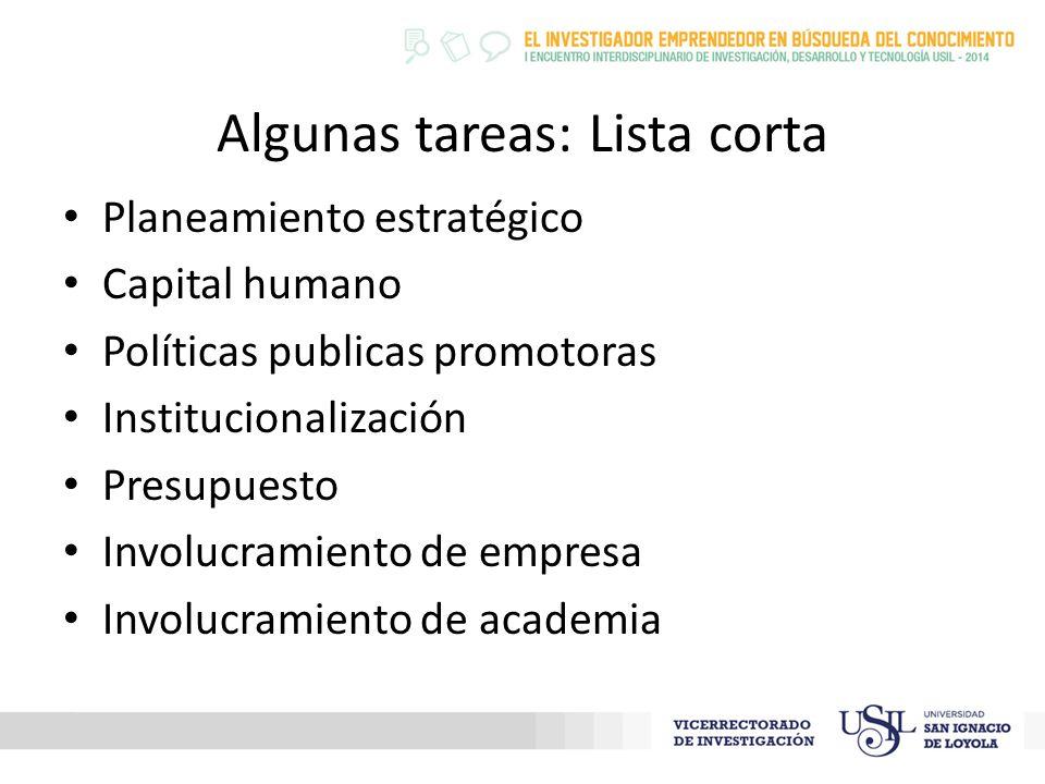 Algunas tareas: Lista corta Planeamiento estratégico Capital humano Políticas publicas promotoras Institucionalización Presupuesto Involucramiento de empresa Involucramiento de academia