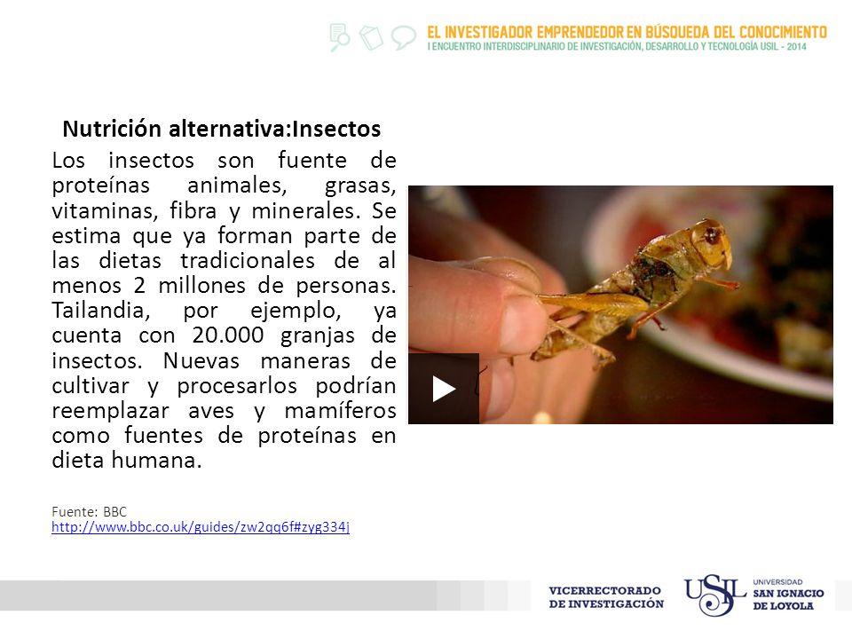 Nutrición alternativa:Insectos Los insectos son fuente de proteínas animales, grasas, vitaminas, fibra y minerales.