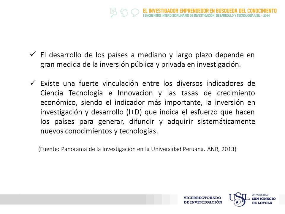 El desarrollo de los países a mediano y largo plazo depende en gran medida de la inversión pública y privada en investigación.