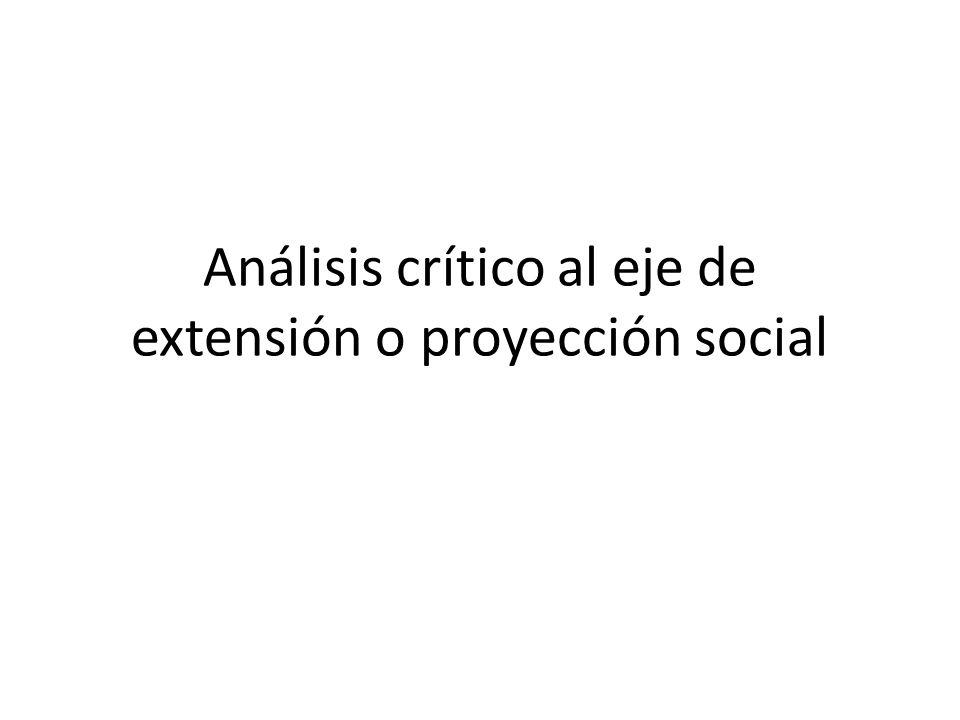 Análisis crítico al eje de extensión o proyección social