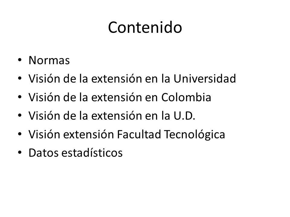 Contenido Normas Visión de la extensión en la Universidad Visión de la extensión en Colombia Visión de la extensión en la U.D.