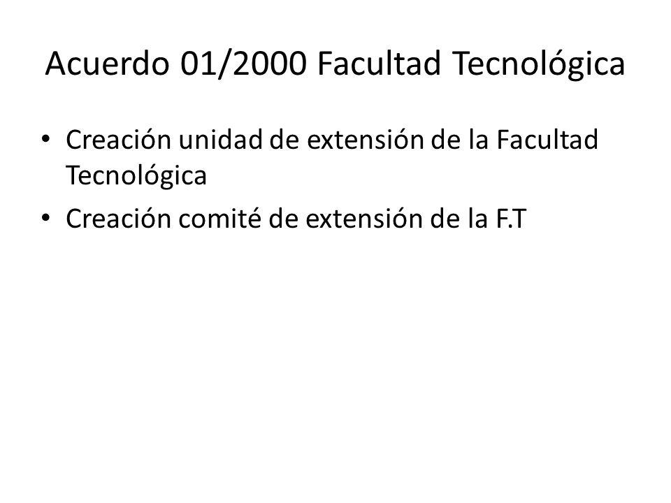 Acuerdo 01/2000 Facultad Tecnológica Creación unidad de extensión de la Facultad Tecnológica Creación comité de extensión de la F.T