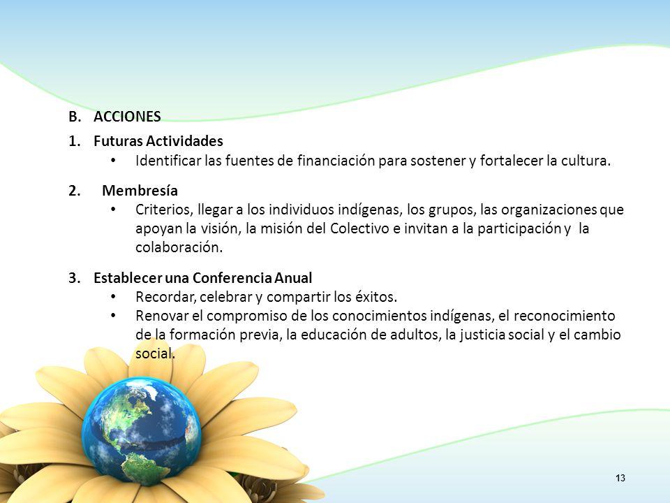 13 B.ACCIONES 1.Futuras Actividades Identificar las fuentes de financiación para sostener y fortalecer la cultura.