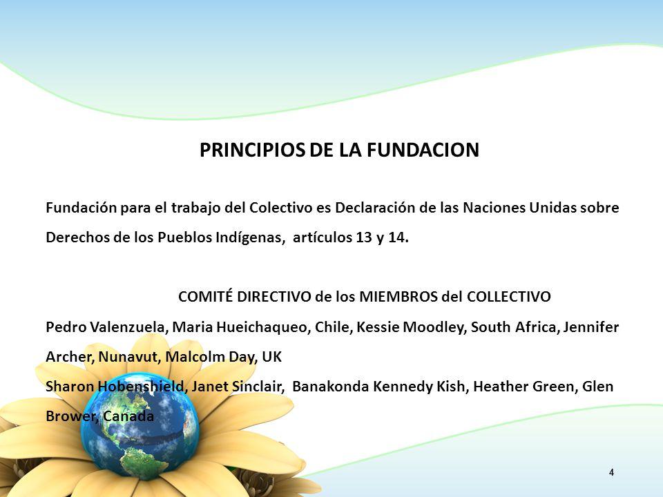 PRINCIPIOS DE LA FUNDACION Fundación para el trabajo del Colectivo es Declaración de las Naciones Unidas sobre Derechos de los Pueblos Indígenas, artículos 13 y 14.