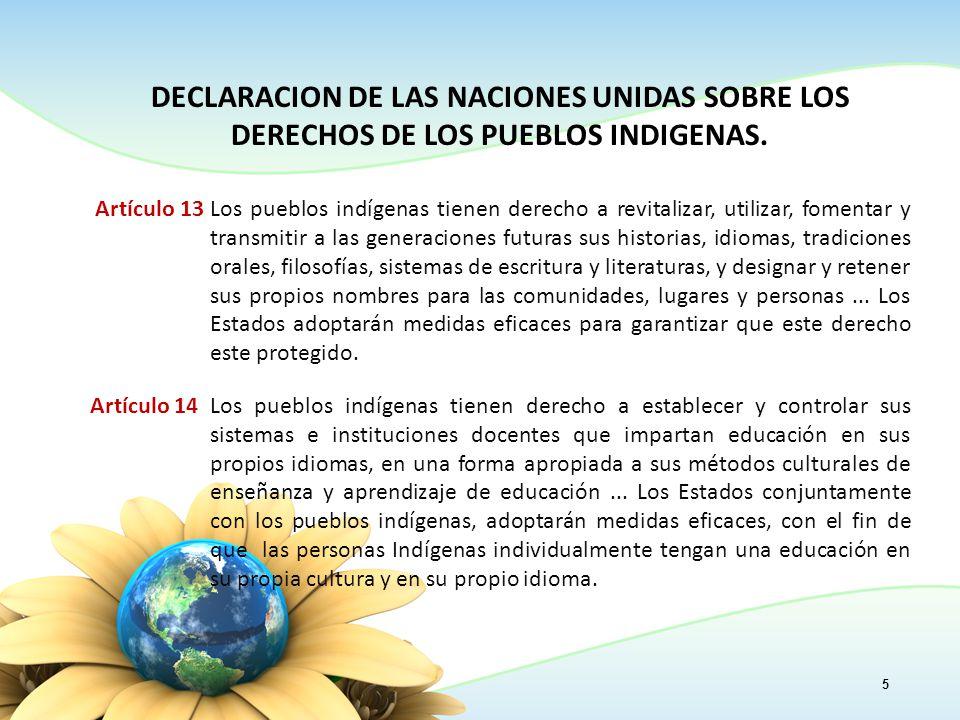 5 DECLARACION DE LAS NACIONES UNIDAS SOBRE LOS DERECHOS DE LOS PUEBLOS INDIGENAS.