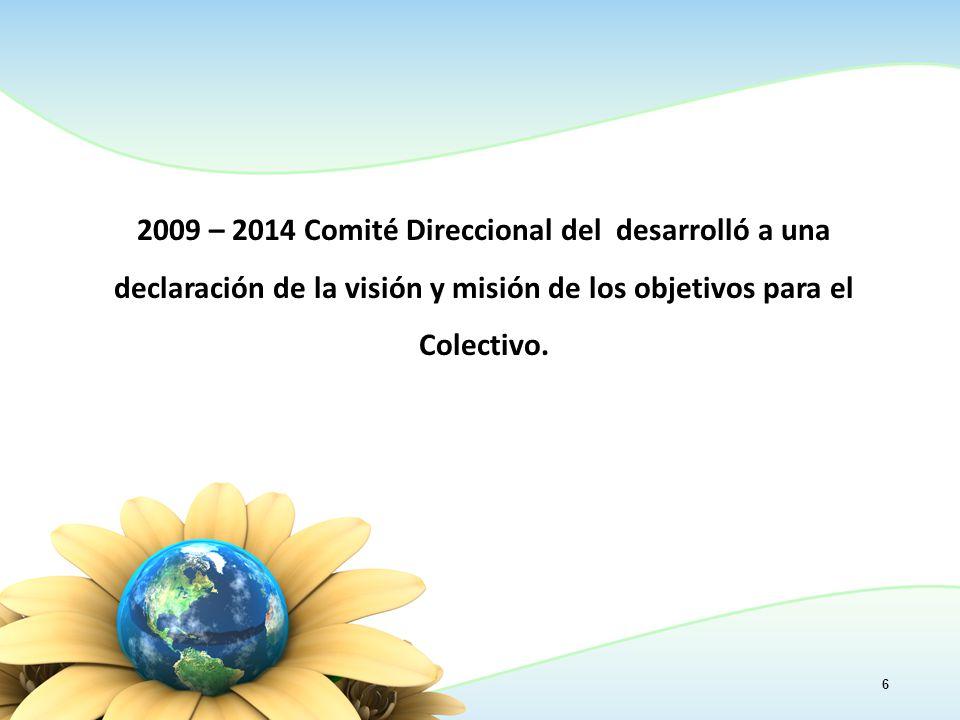6 2009 – 2014 Comité Direccional del desarrolló a una declaración de la visión y misión de los objetivos para el Colectivo.