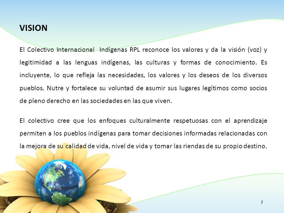 VISION El Colectivo Internacional Indígenas RPL reconoce los valores y da la visión (voz) y legitimidad a las lenguas indígenas, las culturas y formas de conocimiento.