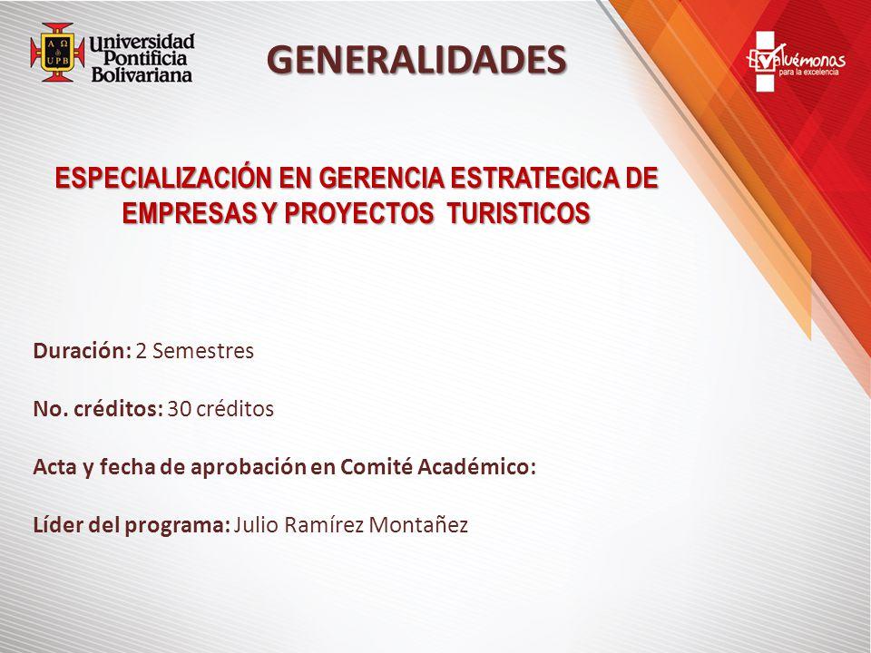 GENERALIDADES ESPECIALIZACIÓN EN GERENCIA ESTRATEGICA DE EMPRESAS Y PROYECTOS TURISTICOS Duración: 2 Semestres No.