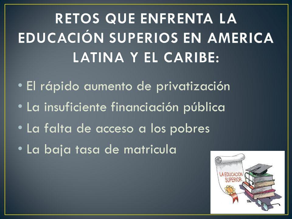 El rápido aumento de privatización La insuficiente financiación pública La falta de acceso a los pobres La baja tasa de matricula