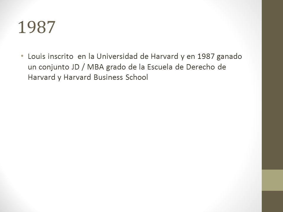 1987 Louis inscrito en la Universidad de Harvard y en 1987 ganado un conjunto JD / MBA grado de la Escuela de Derecho de Harvard y Harvard Business School