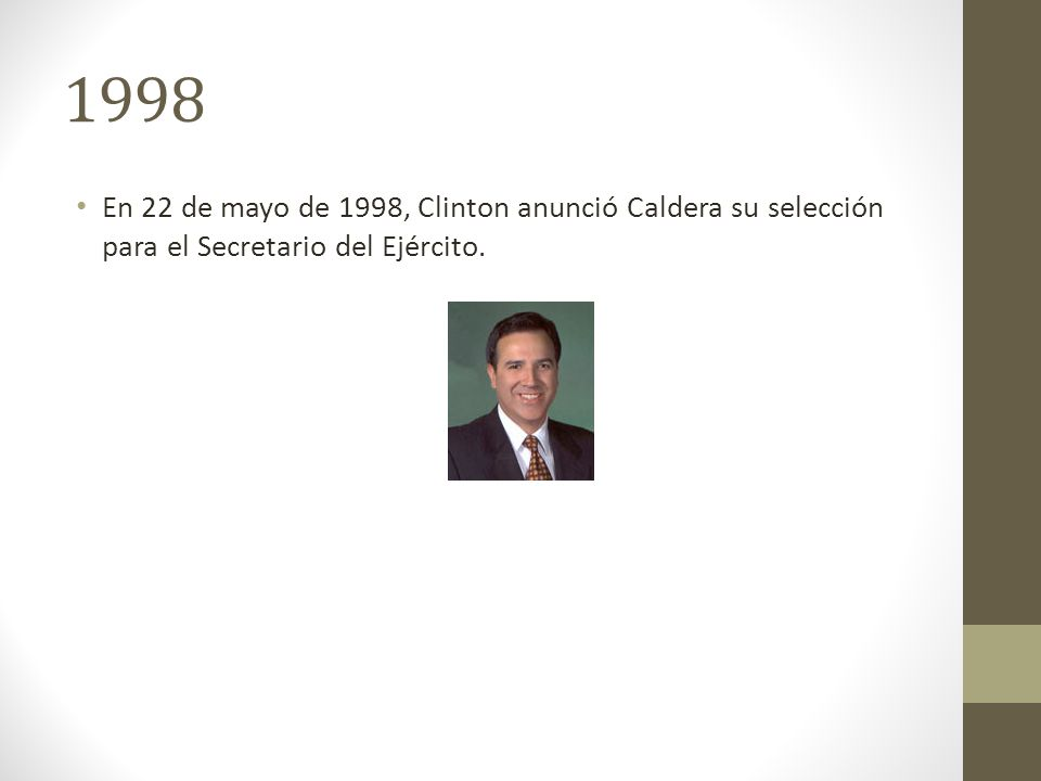 1998 En 22 de mayo de 1998, Clinton anunció Caldera su selección para el Secretario del Ejército.