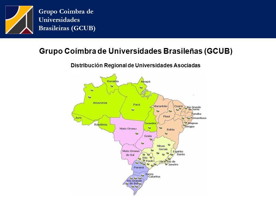 Grupo Coímbra de Universidades Brasileñas (GCUB) Distribución Regional de Universidades Asociadas Grupo Coimbra de Universidades Brasileiras (GCUB)