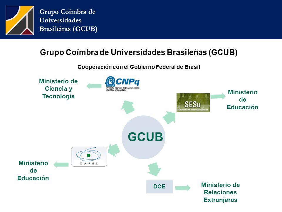 Grupo Coímbra de Universidades Brasileñas (GCUB) Cooperación con el Gobierno Federal de Brasil Grupo Coimbra de Universidades Brasileiras (GCUB) Ministerio de Ciencia y Tecnología Ministerio de Educación Ministerio de Relaciones Extranjeras Ministerio de Educación GCUB DCE