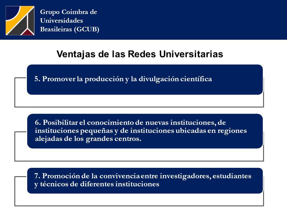 Grupo Coimbra de Universidades Brasileiras (GCUB) Ventajas de las Redes Universitarias 5.