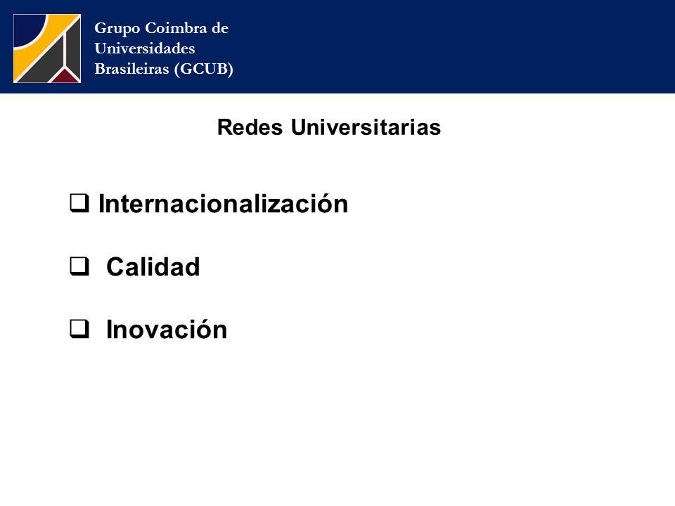 Grupo Coimbra de Universidades Brasileiras (GCUB) Redes Universitarias  Internacionalización  Calidad  Inovación